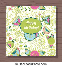 happy birthday card poppy and dandelion on wooden background