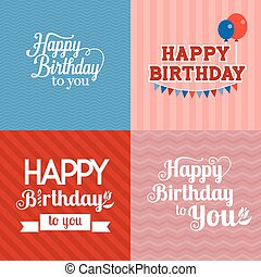 Vector happy birthday card with seamless background