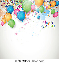 Vector Happy Birthday Greeting Card - Vector Illustration of...