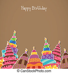 Vector Happy Birthday Greeting Card - Vector Illustration of...