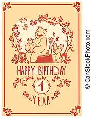 Vector Happy Birthday greeting card with cute rabbit, bird, hedgehog, mouse, fox and bear. Invitation design.