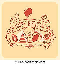 Vector Happy Birthday greeting card with cute teddy bear and toys. Invitation design.
