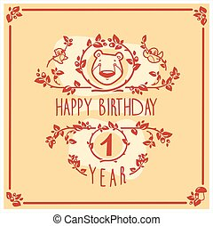 Vector Happy Birthday greeting card with cute bear. Invitation design.