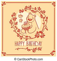 Vector Happy Birthday greeting card with cute bear and cake. Invitation design.