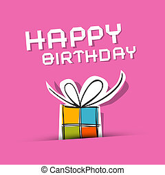 Vector Happy Birthday to You Theme on Pink Background