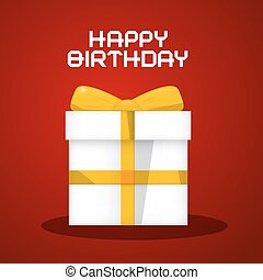 Vector Happy Birthday White Paper Gift Box Illustration on Red Background