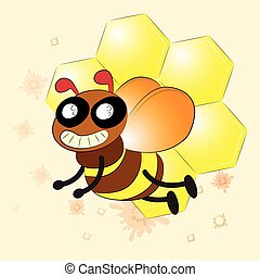 Vector happy cartoon bee flying