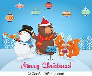 Vector Happy Christmas card with cute bear, snowman and two little fox friends sing songs together. Merry Christmas.