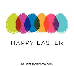 Vector happy easter card with colorful eggs