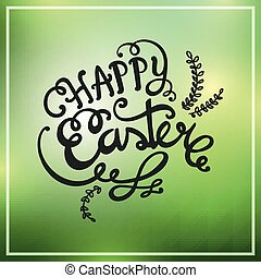 Vector Happy Easter Design on a Green Background