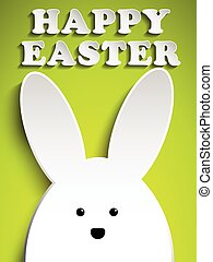Happy Easter Rabbit Bunny on Green Background