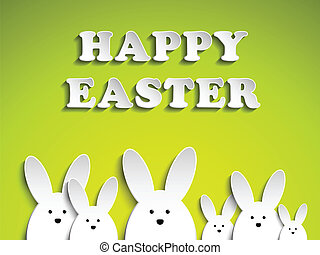 Happy Easter Rabbit Bunny on Green Background - Vector -...