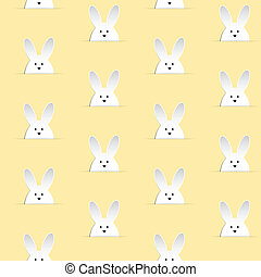 Happy Easter Rabbit Bunny Yellow Seamless Background