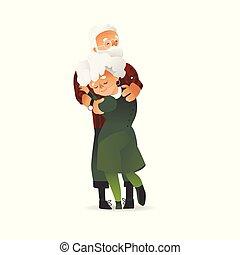 Vector happy elderly couple hugging with smile
