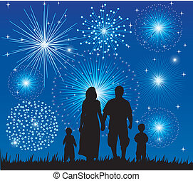 family watching fireworks - vector happy family watching...