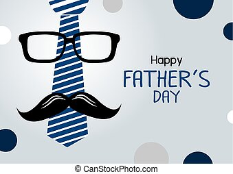 Vector happy fathers day concept design of necktie and glasses with mustache