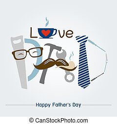 Vector happy fathers day concept design of tool and necktie and mustache