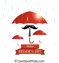 Vector happy fathers day concept of red umbrella with mustache and necktie