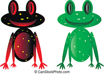 Vector happy frogs