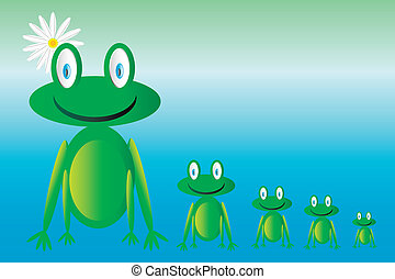 Vector happy green frogs