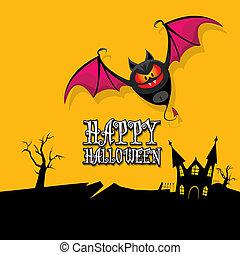 vector happy halloween card with bat