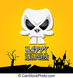 vector happy halloween card with skull