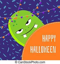 Vector happy halloween cute cartoon monster illustration
