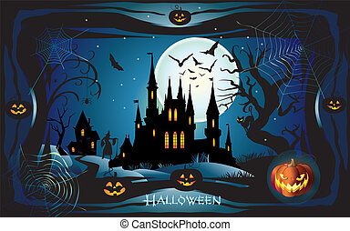 Vector Happy Halloween greeting card cutting paper style