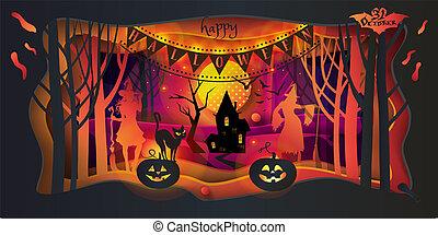 Vector Happy Halloween greeting card paper art