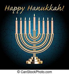 "Vector ""Happy Hanukkah!"" turquoise wish card with Hanukkah Menorah"