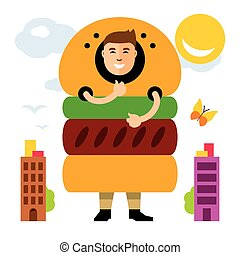 Vector Happy hipster man in hamburger. Flat style colorful Cartoon illustration.