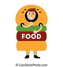 Vector Happy hipster man in hamburger. Flat style colorful Cartoon illustration.