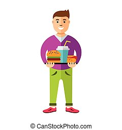 Vector Happy hipster man with hamburger, hot dog and drink. Flat style colorful Cartoon illustration.