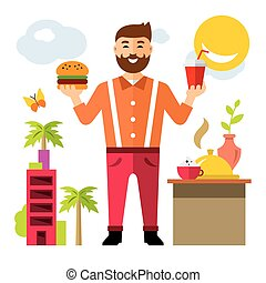 Vector Happy hipster man with hamburger and drink. Flat style colorful Cartoon illustration.