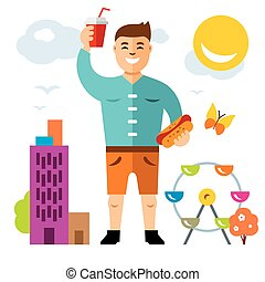 Vector Happy hipster man with hot dog and drink. Flat style colorful Cartoon illustration.