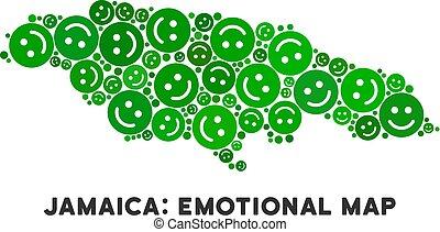 Vector Happy Jamaica Map Composition of Smileys