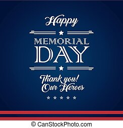 Vector happy Memorial Day blue vector background