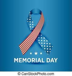 Vector Happy Memorial Day card. National american holiday illustration with ribbon.