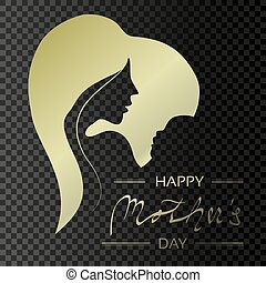 Vector Happy Mother's Day. Golden greeting card with woman silhouette and baby silhouette in the heart. Decoration text. Love design on transparent background.