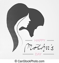 Vector Happy Mother's Day. Greeting card with woman silhouette and baby silhouette in the heart. Decoration text and dotted design.