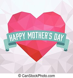 Vector happy mother's day, heart with ribbons