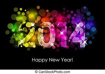 2014 colorful background - Vector Happy New Year - 2014 ...
