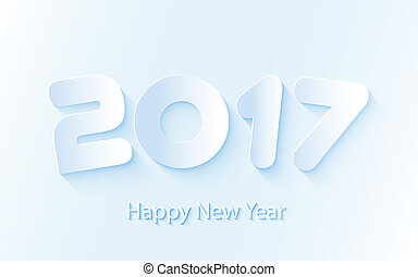 Vector Happy New Year 2017 background with paper cuttings