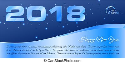 Vector Happy new year 2018 banner in blue