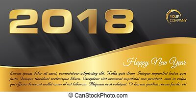 Vector Happy new year 2018 banner in gold