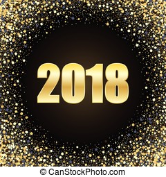 vector happy new year 2018 card background gold bright disco lights circle frame round