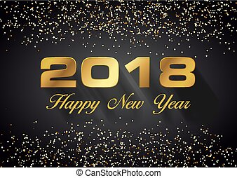 Vector Happy new year 2018 card in gold