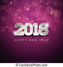 Vector Happy New Year 2018 Illustration on Shiny Lighting Background with Typography Design.