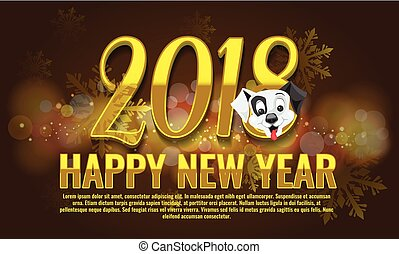 Vector Happy New Year 2018 - New Year background with happy dog character.