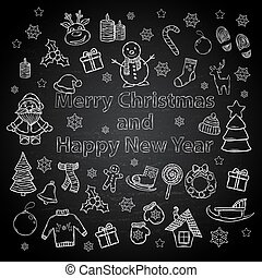 Happy New Year and Merry Christmas set on a chalk board